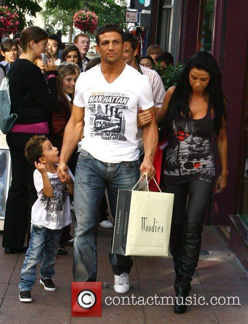 Katie Price, aka Jordan, with boyfriend Alex Reid and her son Junior 17