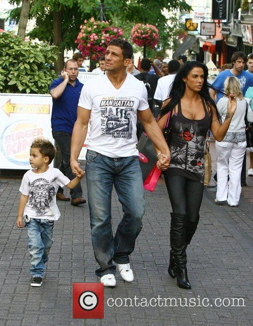 Katie Price, aka Jordan, with boyfriend Alex Reid and her son Junior 16