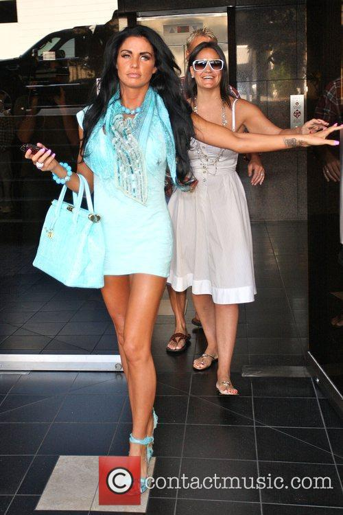 Katie Price, aka Jordan and leaving a medical building in Beverly Hills wearing a baby blue ensemble 1