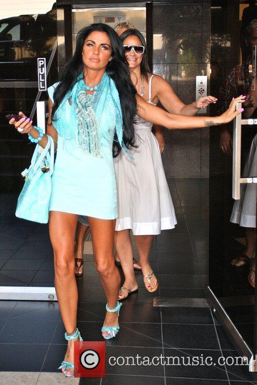 Katie Price, aka Jordan and leaving a medical building in Beverly Hills wearing a baby blue ensemble 10