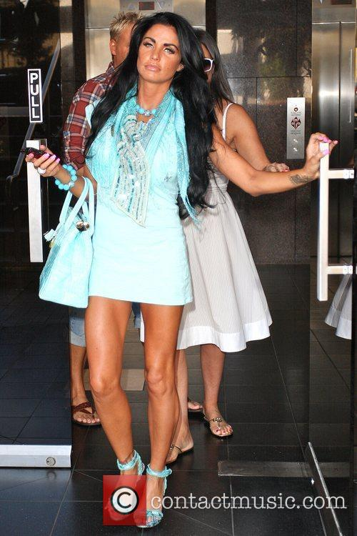 Katie Price, aka Jordan and leaving a medical building in Beverly Hills wearing a baby blue ensemble 4