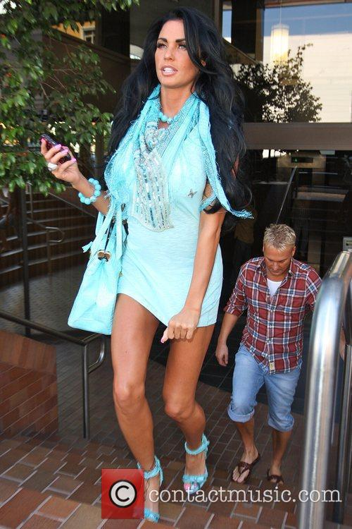 Katie Price, aka Jordan and leaving a medical building in Beverly Hills wearing a baby blue ensemble 3