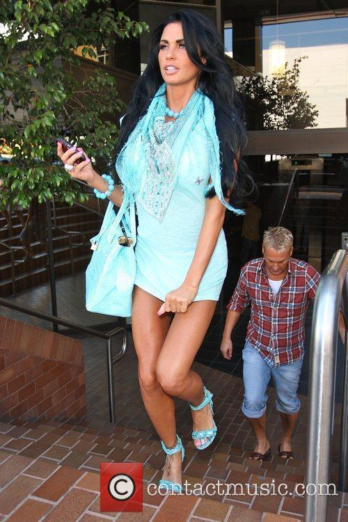 Katie Price, aka Jordan and leaving a medical building in Beverly Hills wearing a baby blue ensemble 2