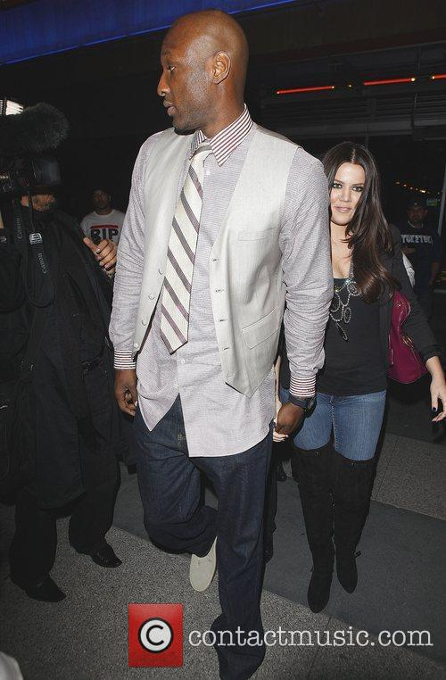 Khloe Kardashian and Lamar Odom Arriving At Katsuya Restaurant In Hollywood After The Los Angeles Lakers Beat The Clippers 99-97. 1