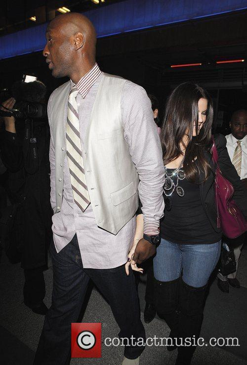 Khloe Kardashian and Lamar Odom Arriving At Katsuya Restaurant In Hollywood After The Los Angeles Lakers Beat The Clippers 99-97. 2