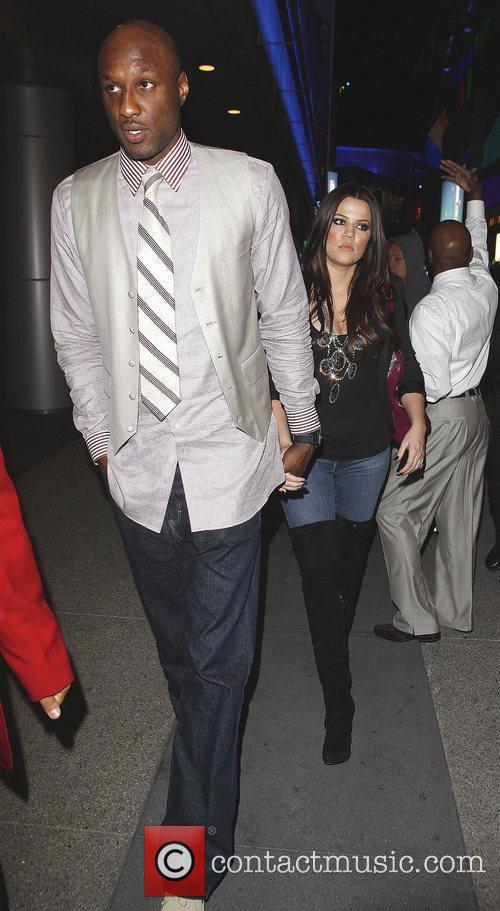 Khloe Kardashian and Lamar Odom Arriving At Katsuya Restaurant In Hollywood After The Los Angeles Lakers Beat The Clippers 99-97. 3