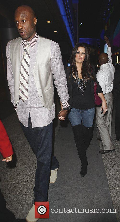 Khloe Kardashian and Lamar Odom Arriving At Katsuya Restaurant In Hollywood After The Los Angeles Lakers Beat The Clippers 99-97. 6