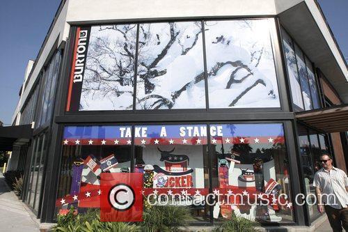 Katy Perry departs a Burton Snowboards store