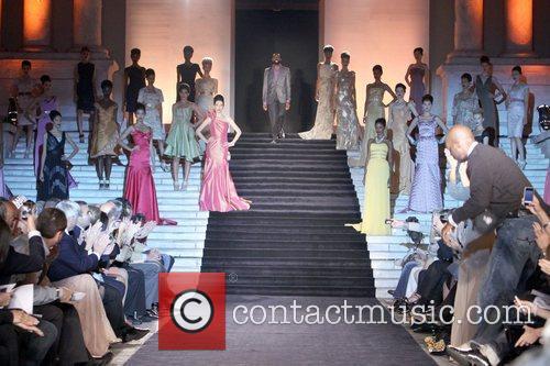 Fashion Designer Kevan Hall walks the runway of...