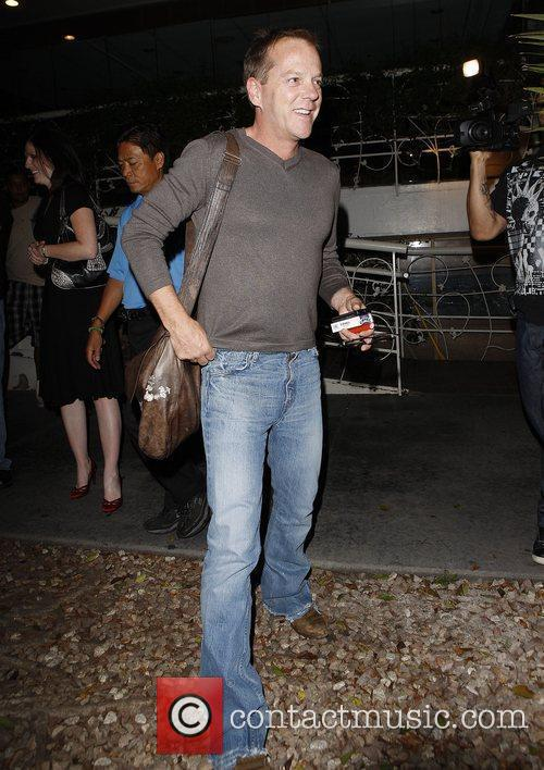 Kiefer Sutherland leaving Madeo restaurant Los Angeles, California
