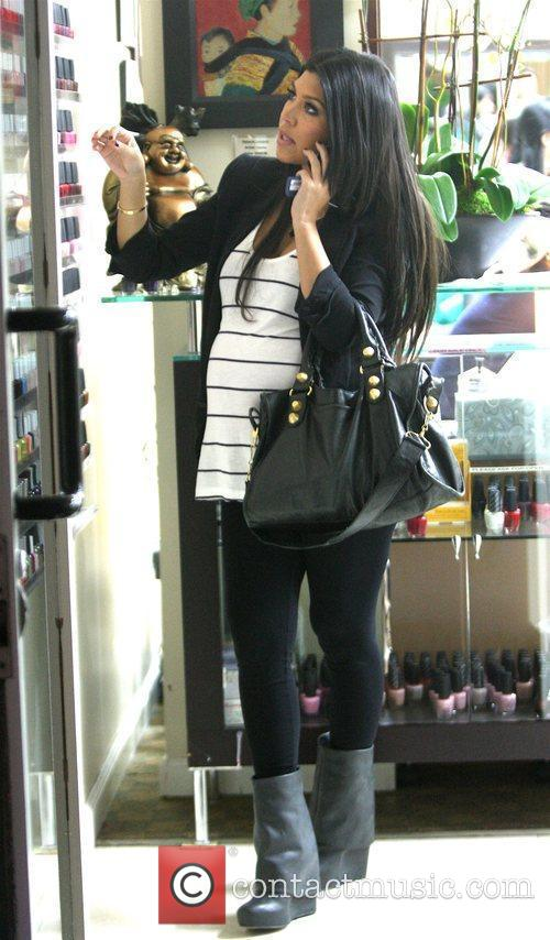 Kourtney Kardashian gets a manicure and pedicure at...