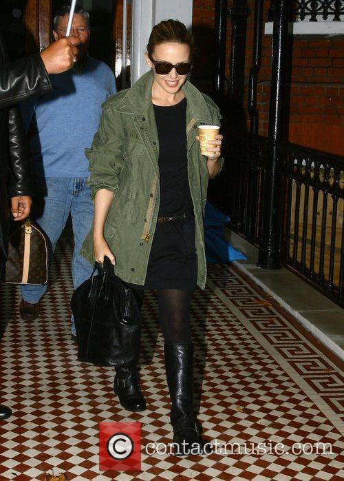 Kylie Minogue leaves her home
