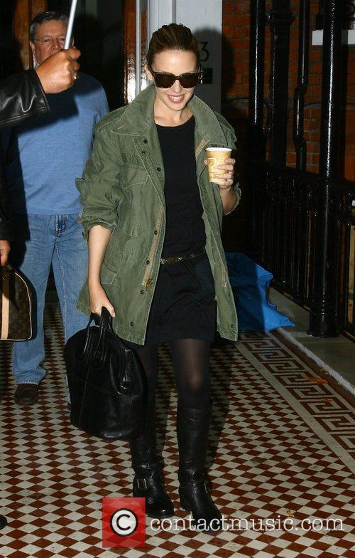 Kylie Minogue leaves her home London, England