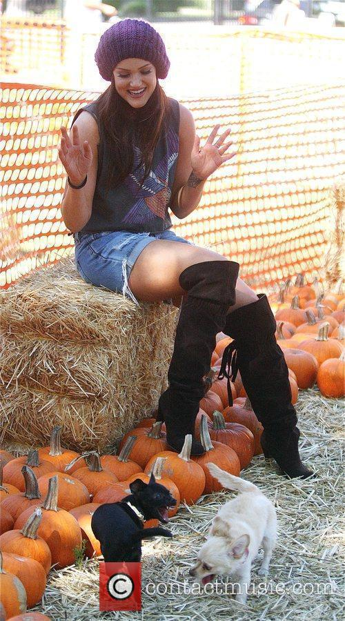 Lacey Schwimmer visits Mr. Bones Pumpkin Patch in...