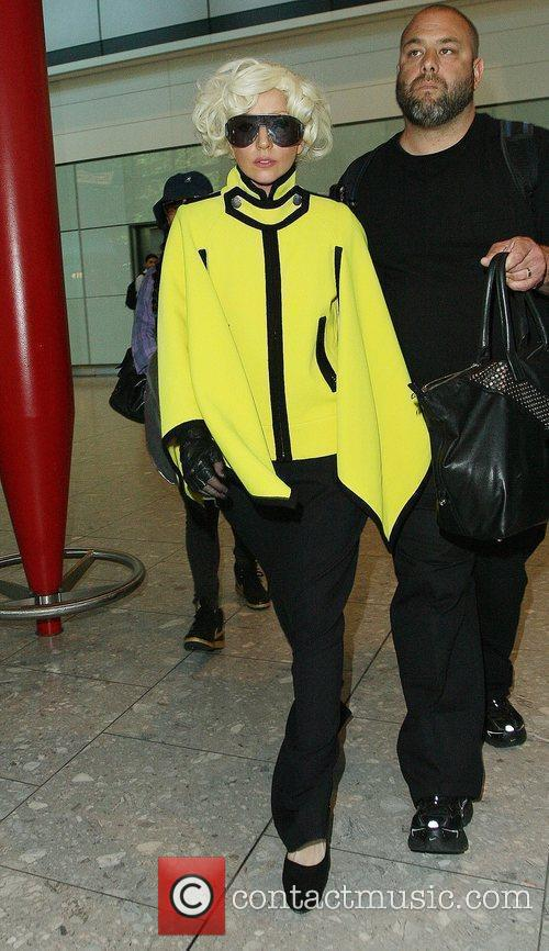 Lady Gaga arriving at Heathrow airport after flying...