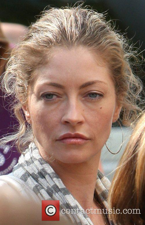 Rebecca Gayheart arriving amongst the crowds of fans...