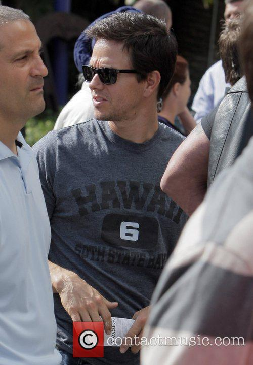 Mark Wahlberg arrives for the first game of...