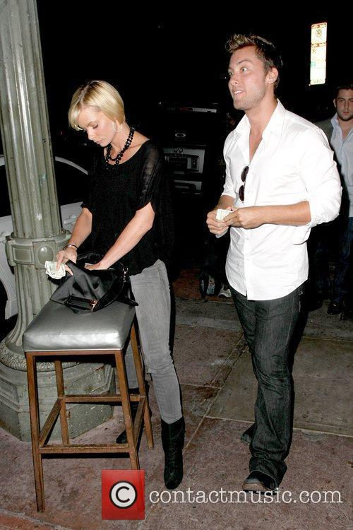 Jaime Pressly and Lance Bass outside of Beso...