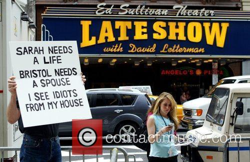 Protesters and David Letterman 2
