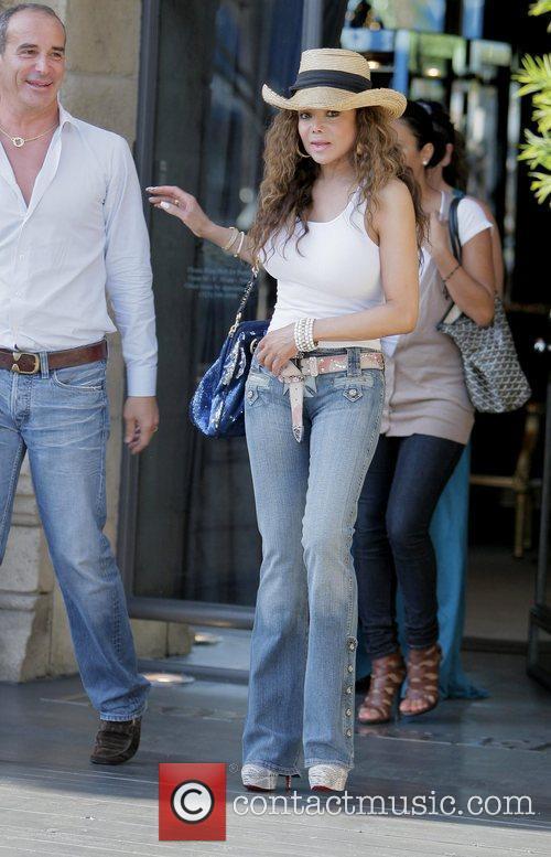 La Toya Jackson leaving Lloyd Klein Couture after...