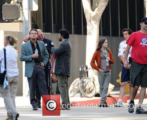 Leonardo Dicaprio and Ellen Page On The Film Set For Their New Film 'inception' On Location. 4