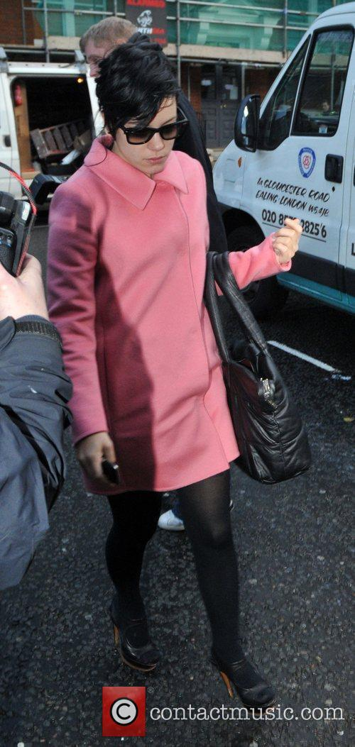 Lily Allen arriving at the BBC Maida Vale...