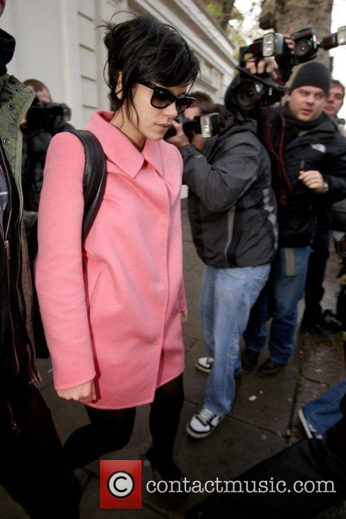 Lily Allen  leaving Maida Vale studios while...