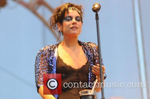 Lily Allen performing live on stage at the...