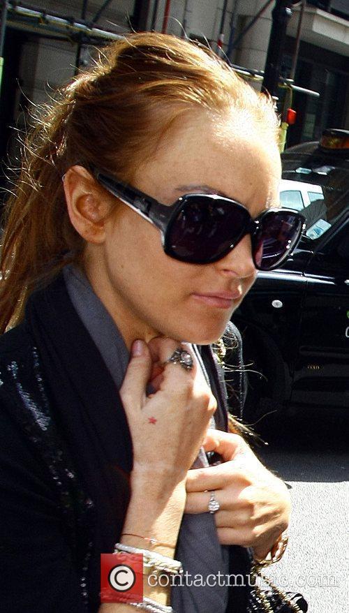 Lindsay Lohan arriving at her hotel London, England