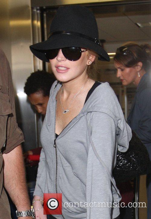 Lindsay Lohan at Los Angeles International Airport....