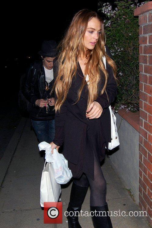Samantha Ronson and Lindsay Lohan arriving at Samantha...