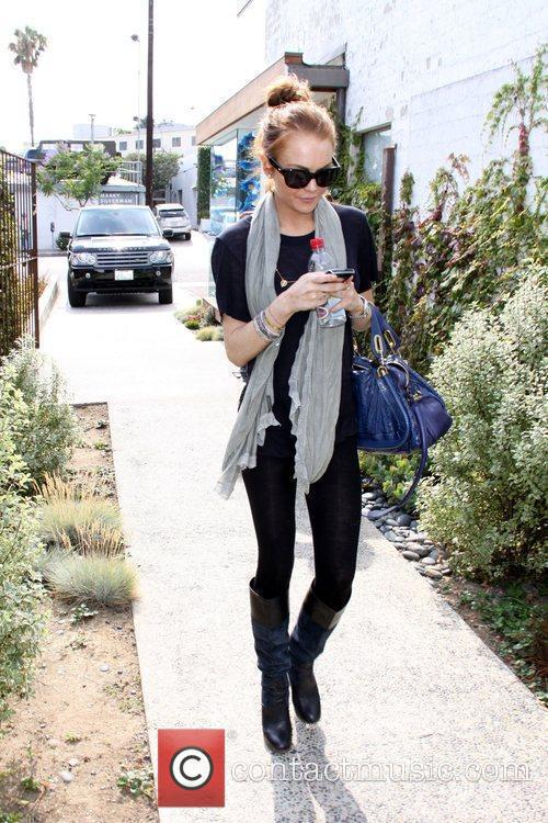 Lindsay Lohan arrives at Andy Lecompte Salon in...