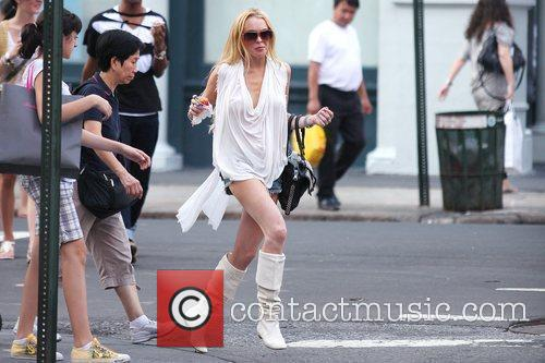Lindsay Lohan out shopping in SoHo wearing very...