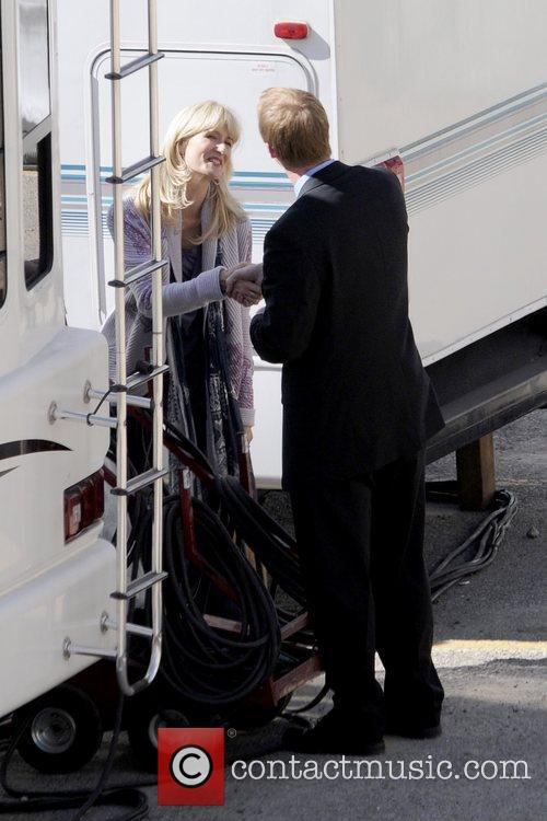 Outside her trailer on the set of the...