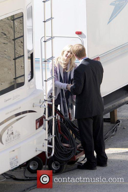 Laura Dern outside her trailer on the set...