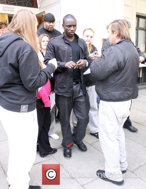 Akon leaving the BBC studios in Maida Vale...