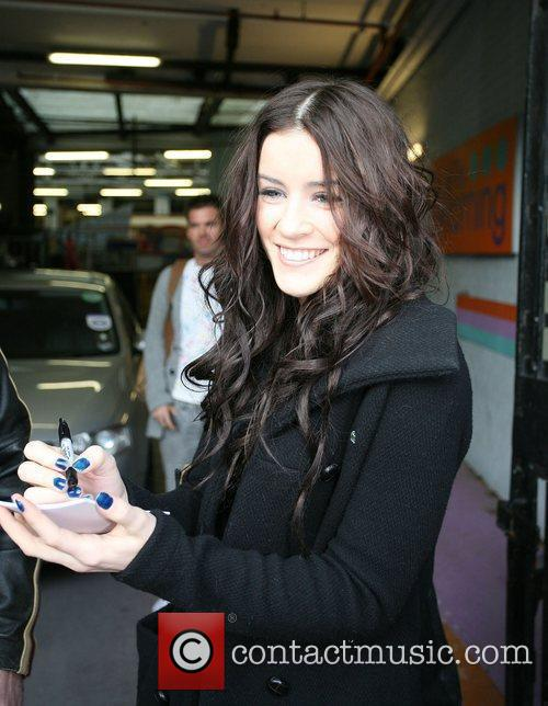 Lucie Jones leaves the ITV studios after appearing...