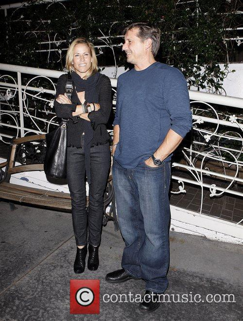 Sheryl Crow leaving Madeo restaurant with a friend...