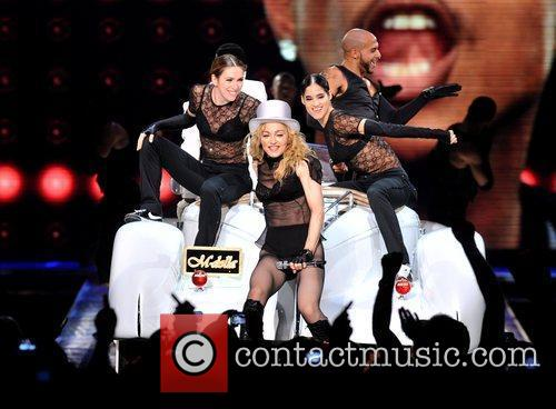 Madonna performs live at the O2 Arena during...