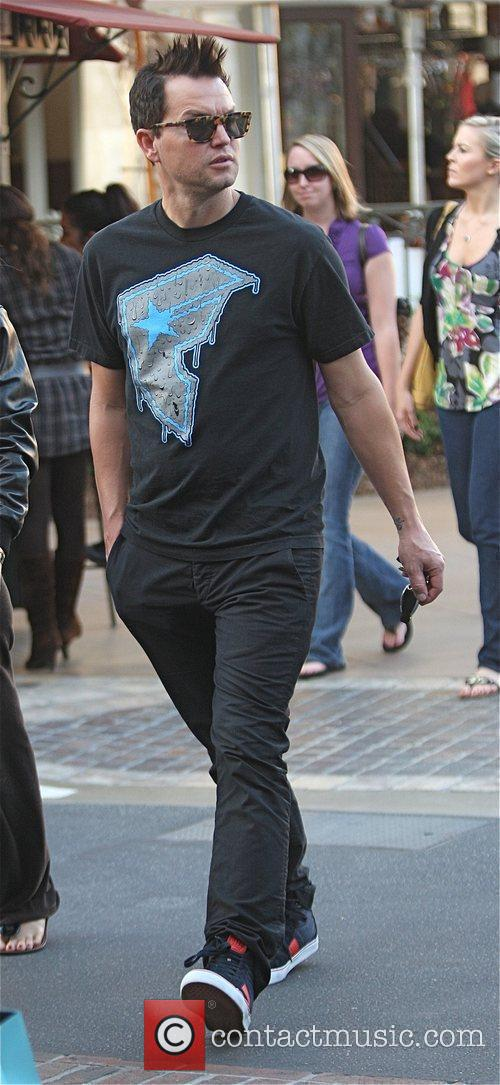 Mark Hoppus visits a movie theater in Hollywood...