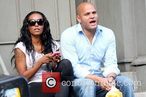 Melanie Brown aka Mel B.and Stephen Belafonte taking...