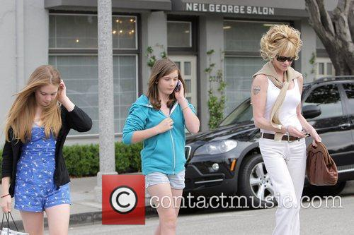 Melanie Griffith, Her Two Daughters, Dakota Johnson, Stella Banderas and Leaving Neil George Salon In Beverly Hills 3
