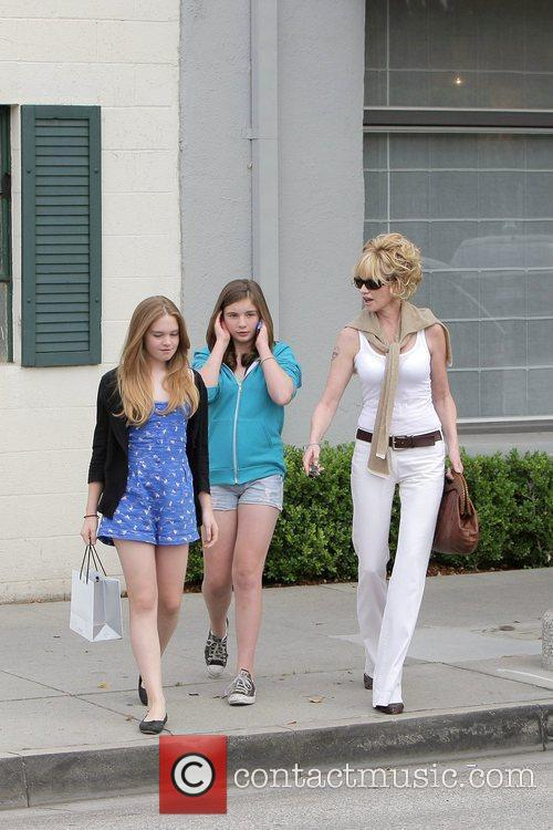 Melanie Griffith, Her Two Daughters, Dakota Johnson, Stella Banderas and Leaving Neil George Salon In Beverly Hills 10