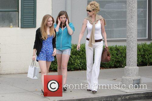 Melanie Griffith, Her Two Daughters, Dakota Johnson, Stella Banderas and Leaving Neil George Salon In Beverly Hills 4