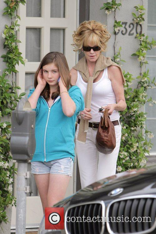 Melanie Griffith and Her Two Daughters Leaving Neil George Salon In Beverly Hills 9