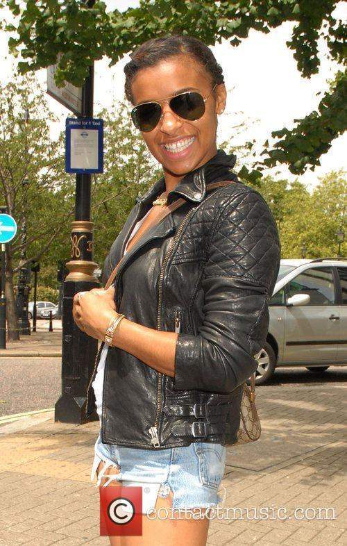 Melody Thornton leaving the Metropolitan hotel London, England