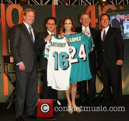 NFL Commissioner Roger Goodell, Marc Anthony, Jennifer Lopez,...