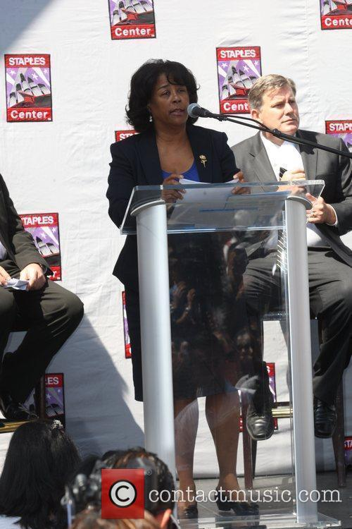 Jan Perry Press conference at the Staples Center...