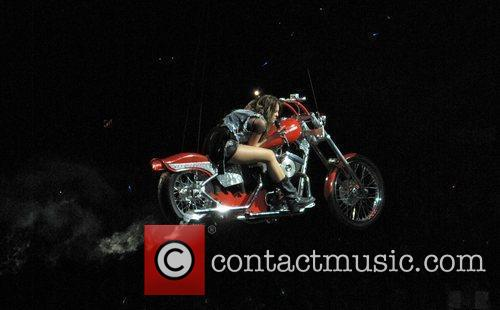 Miley Cyrus performs in concert on the first...