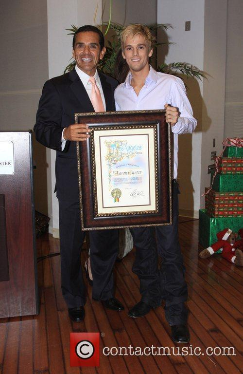 Aaron Carter with Mayor of Los Angeles Antonio...